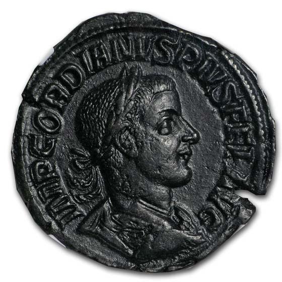 Roman AE Sestertius Gordian III/Laetitia (238-244 AD) Ch XF NGC