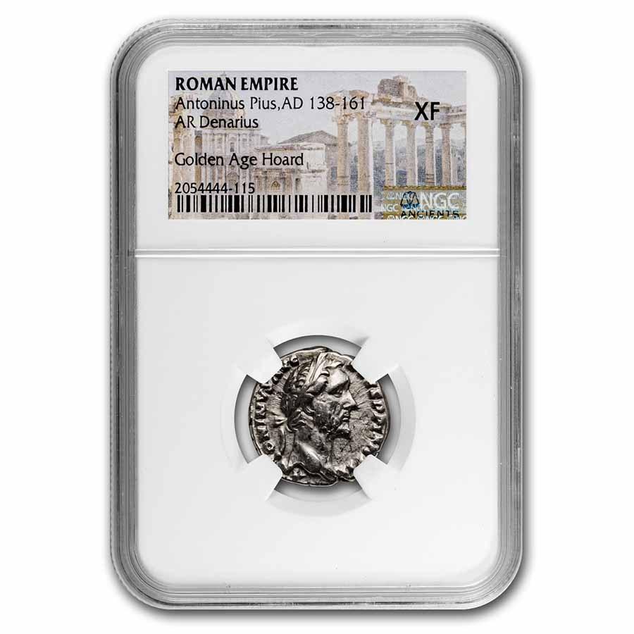 Roman AR Denarius Ant Pius 138-61 AD XF NGC (Golden Age Hoard)