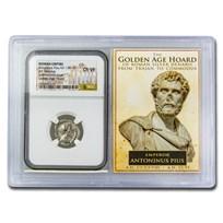 Roman AR Denarius Anton. Pius Ch VF NGC (Golden Age Hoard Vault)