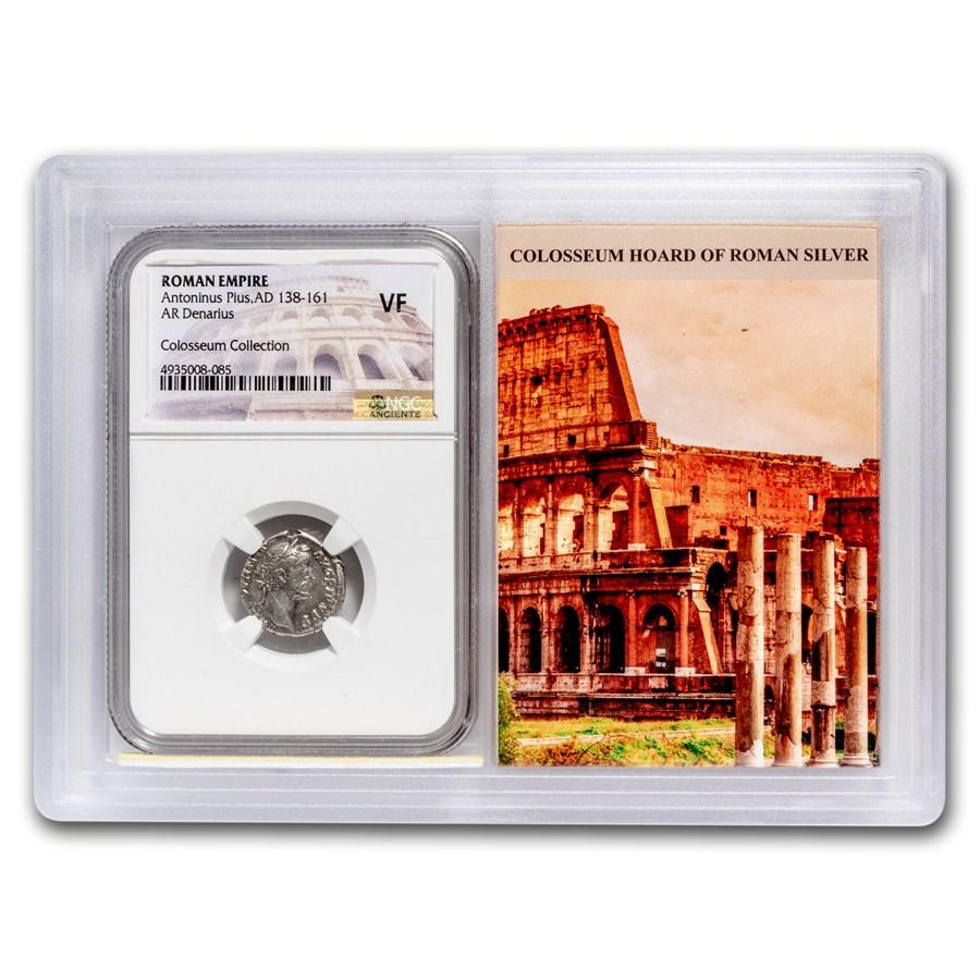 Roman AR Denarius Anton. Pius VF NGC (Colosseum Hoard Vault)