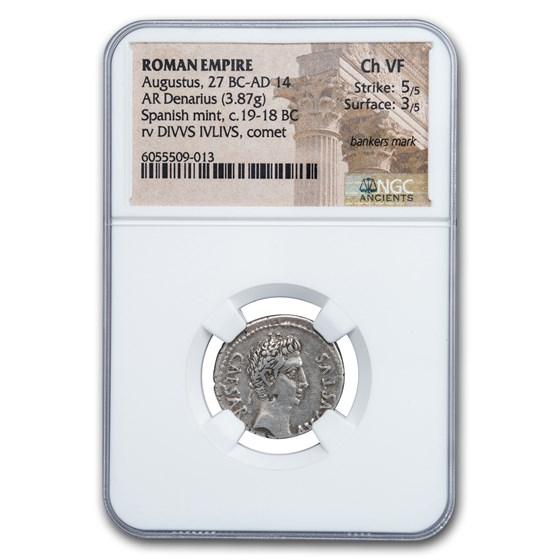 Roman AR Denarius Augustus (27 BC-14 AD) Ch VF NGC (RIC I 37a)