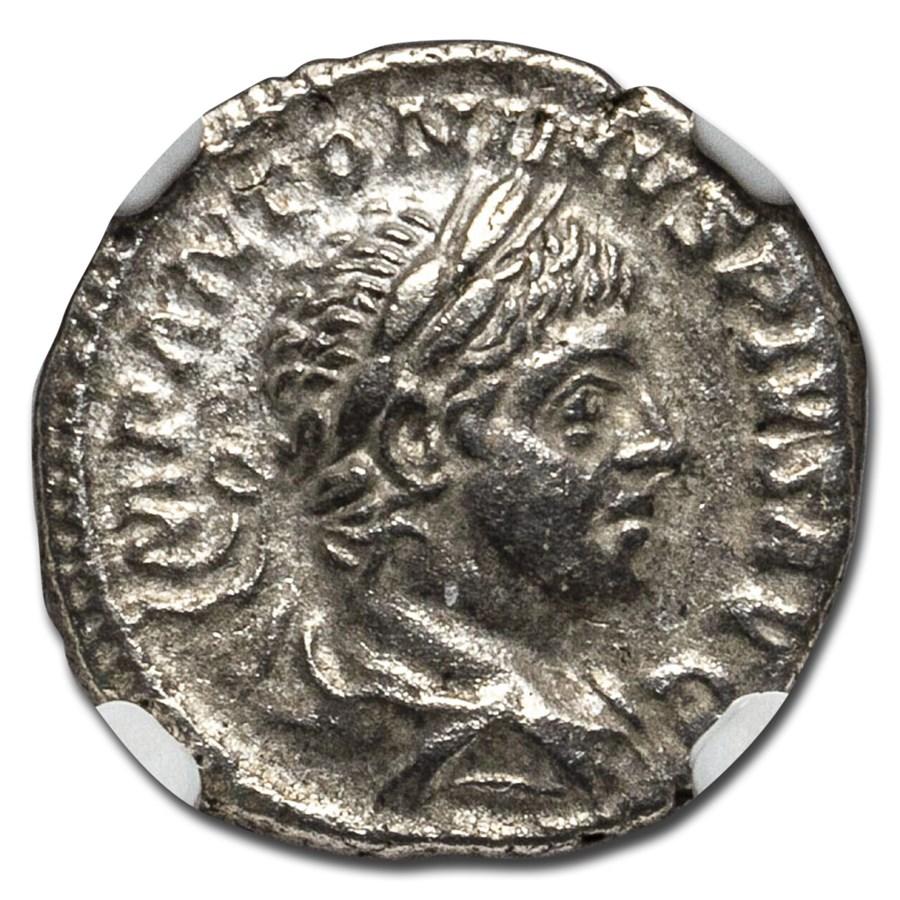 Roman AR Denarius Elagabalus Apollo (218-222 AD) Ch XF NGC