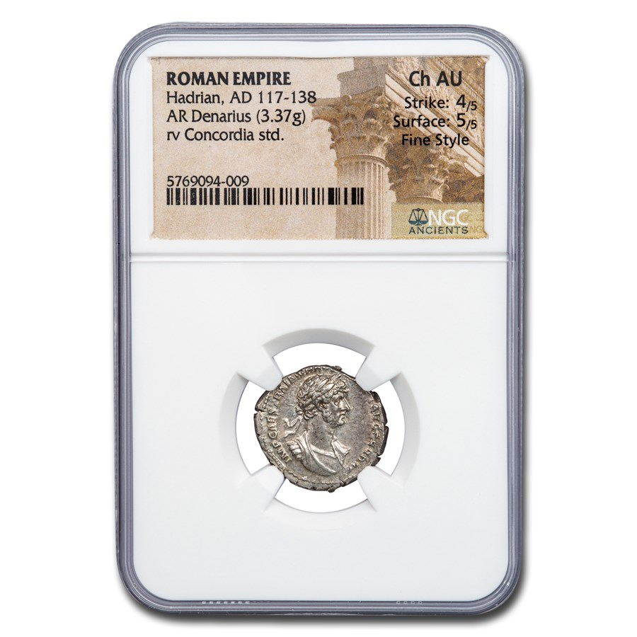 Roman AR Denarius Emp. Hadrian (117-138 AD) CH AU NGC Fine Style