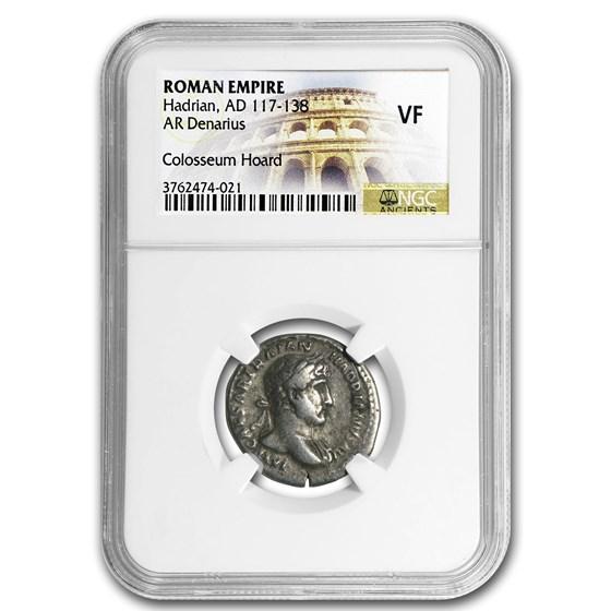 Roman AR Denarius Emperor Hadrian (117-138 AD) VF NGC
