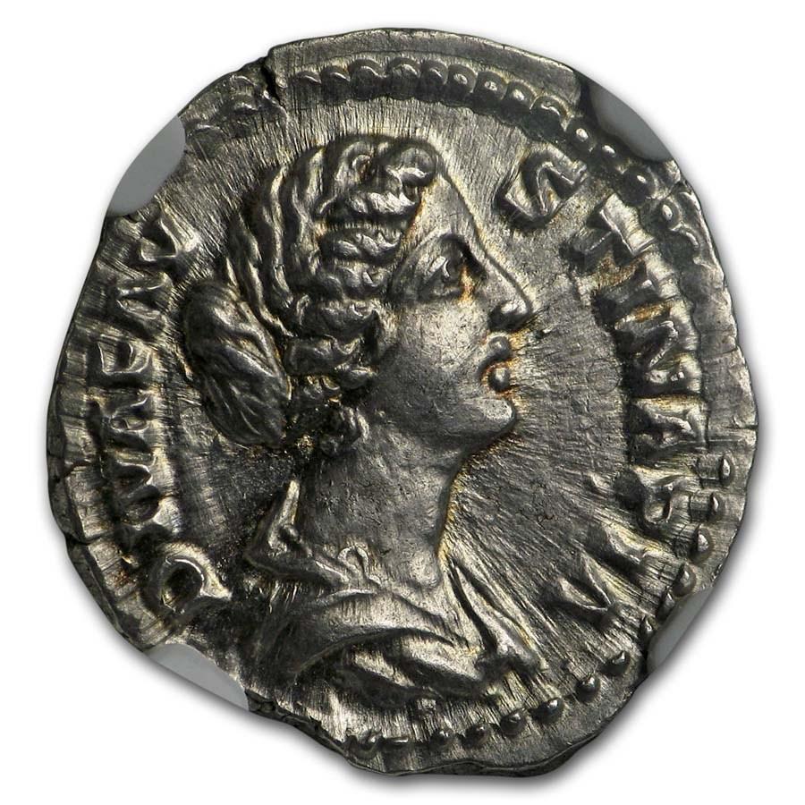 Roman AR Denarius Faustina Jr. (147-175/6 AD) MS NGC (Posthumous)