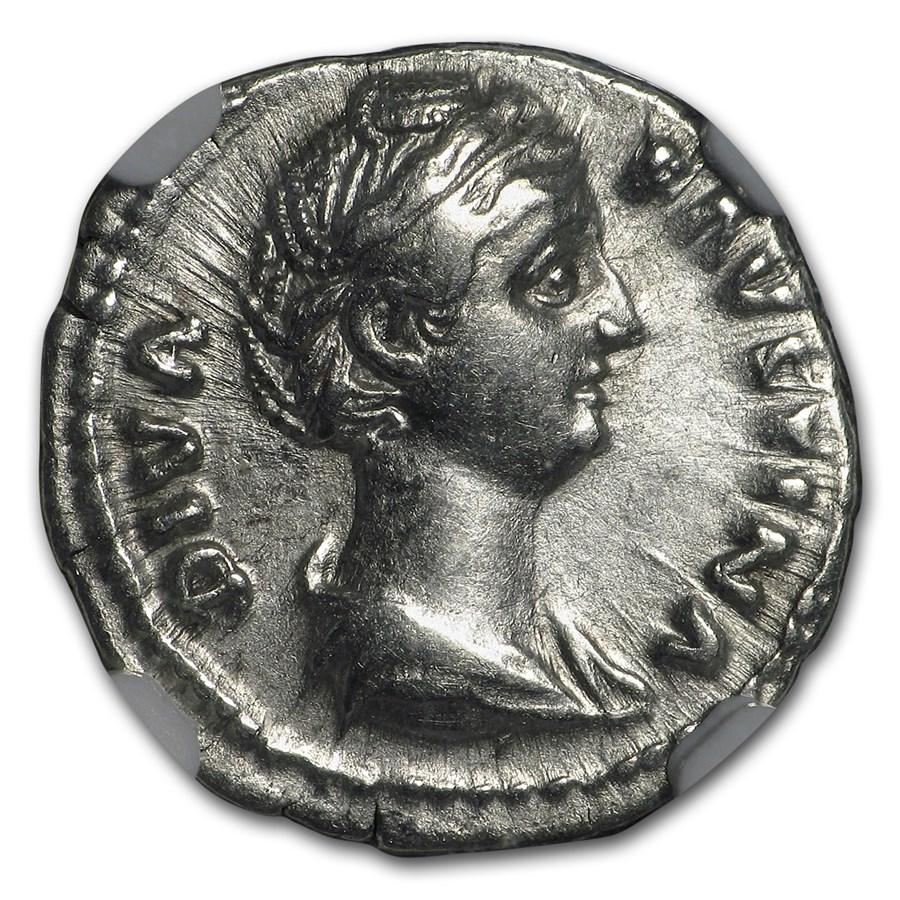 Roman AR Denarius Faustina Sr. (138-140/1 AD) Ch XF NGC (Vault)