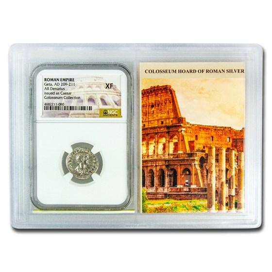 Roman AR Denarius Geta XF NGC (Colosseum Hoard Vault)