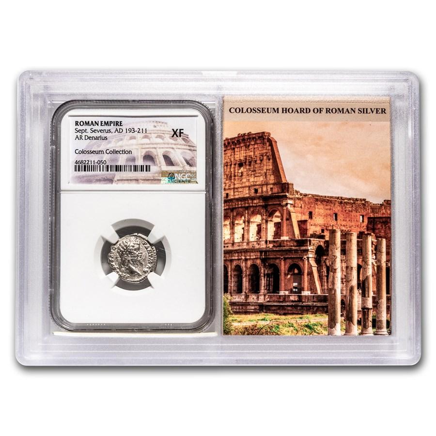 Roman AR Denarius Sept. Severus XF NGC (Colosseum Hoard Vault)