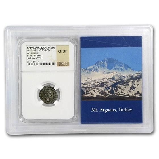 Roman AR Drachm Emp. Gordian III (238-244 AD) Ch XF NGC (Vault)