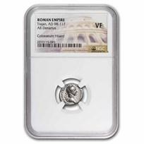 Roman AR Silver Denarius Emperor Trajan (98-117 AD) VF NGC
