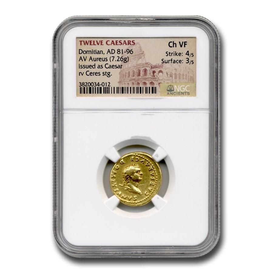 Roman AV Aureus Emperor Domitian (81-96 AD) CH VF NGC