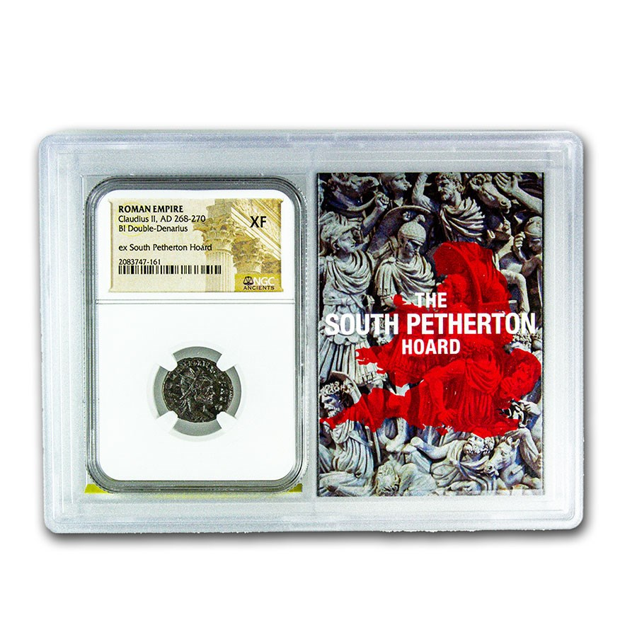 Roman BI Dbl Denarius Claudius II XF NGC (Petherton Hoard Vault)
