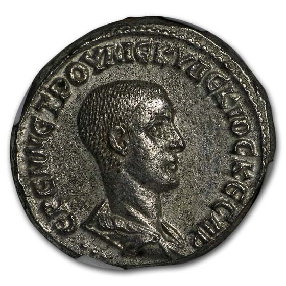 Roman BI Tetradrachm Herennius Etruscus (251 AD) AU NGC