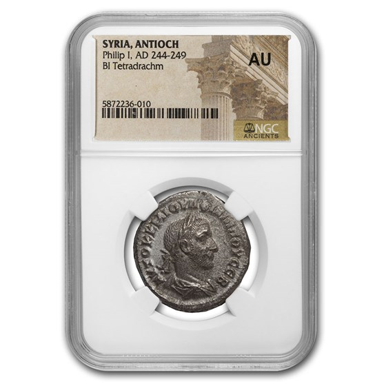 Roman Billon Tetradrachm Emperor Philip I (244-249 AD) AU NGC