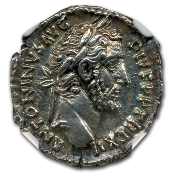 Roman Denarius Emperor Antoninus Pius (138-161 AD) Ch AU NGC