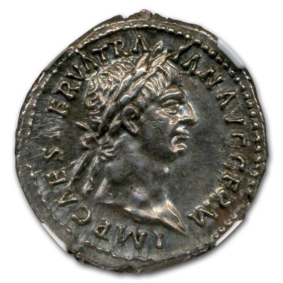 Roman Denarius Emperor Trajan (98-117 AD) Ch AU NGC