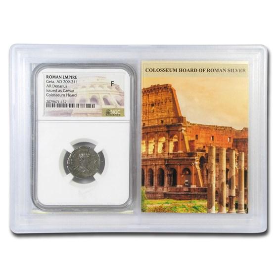 Roman Denarius Geta (209-211 AD) Fine NGC (Colosseum Hoard Vault)