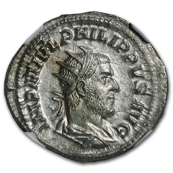 Roman Double Denarius Emperor Phillip I (244-249 AD) AU NGC