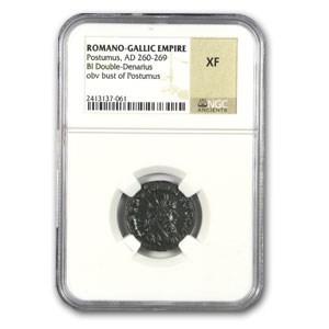 Roman Double Denarius Emperor Postumus XF NGC (260-269 AD)