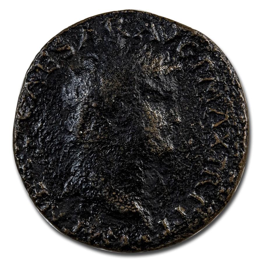 Roman Empire AE As Emp Nero (54-68 AD) Avg Circ