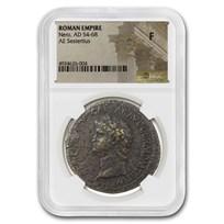 Roman Empire AE Sestertius Nero (54-68 AD) Fine NGC (RIC I 495)