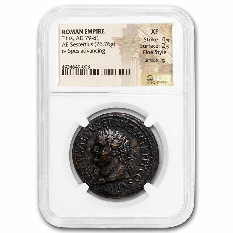 Roman Empire AE Sestertius Titus (79-81 AD) XF NGC (RIC II 170)