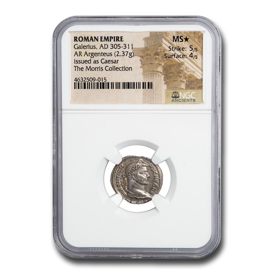 Roman Empire AR Argenteus Emperor Galerius (305-311 AD) MS* NGC