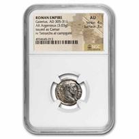 Roman Empire AR Argenteus Galerius (305-311 AD) AU NGC