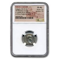 Roman Empire AR Denarius Caligula (37-41 AD) Ch AU NGC (RIC I 2)