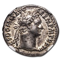 Roman Empire AR Denarius Domitian (81-96 AD) AU NGC (RIC II 446)