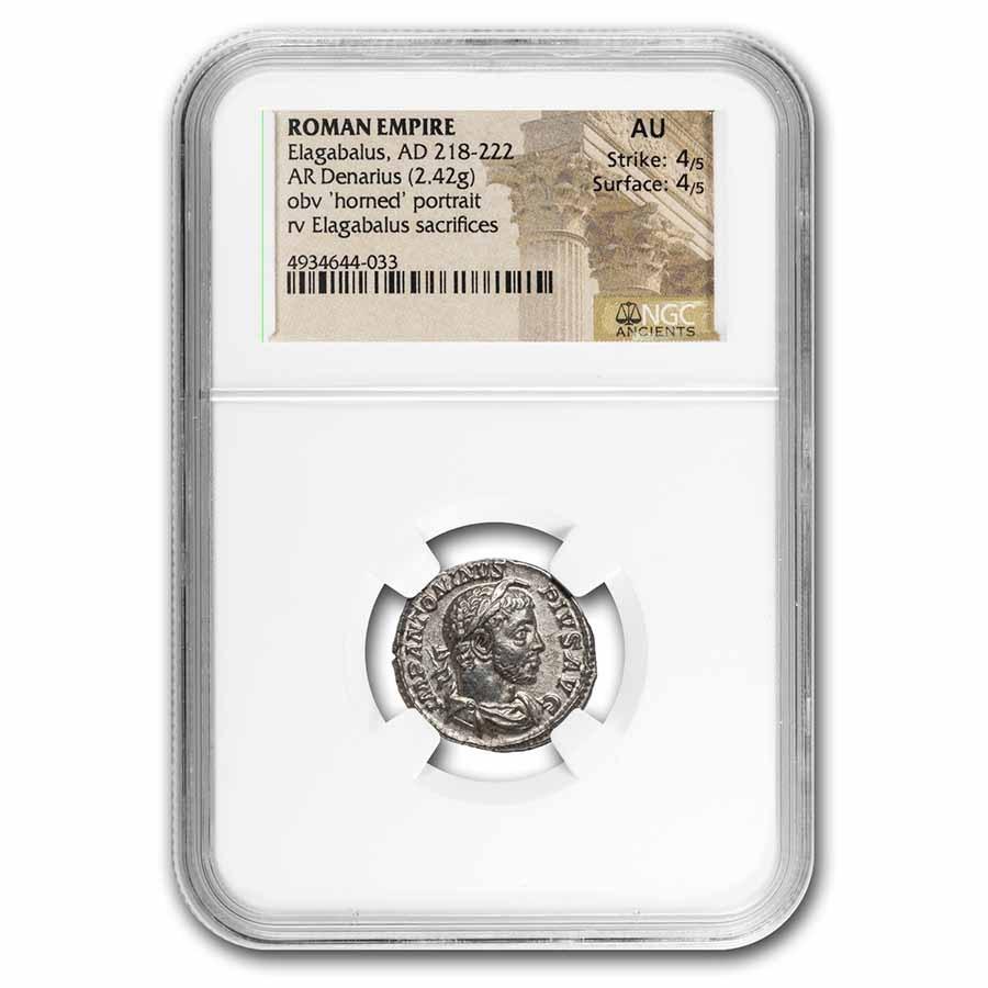 Roman Empire AR Denarius Elagabalus AU NGC (RIC IV 146)