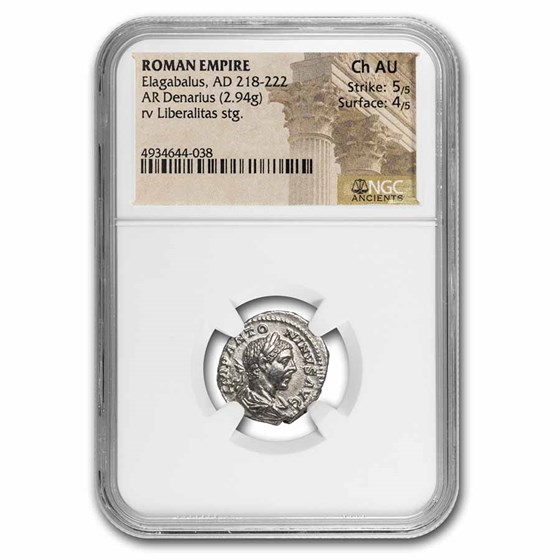 Roman Empire AR Denarius Elagabalus Ch AU NGC (RIC IV 102)