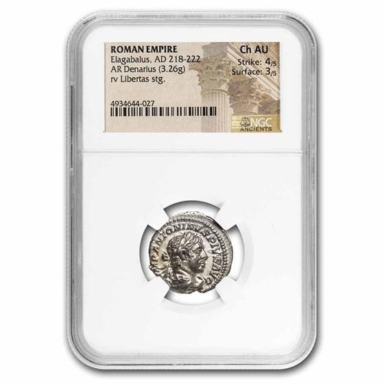 Roman Empire AR Denarius Elagabalus Ch AU NGC (RIC IV 107)