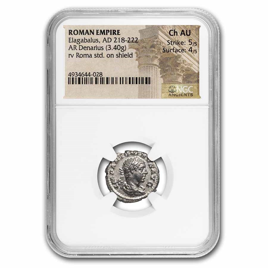 Roman Empire AR Denarius Elagabalus Ch AU NGC (RIC IV 13)