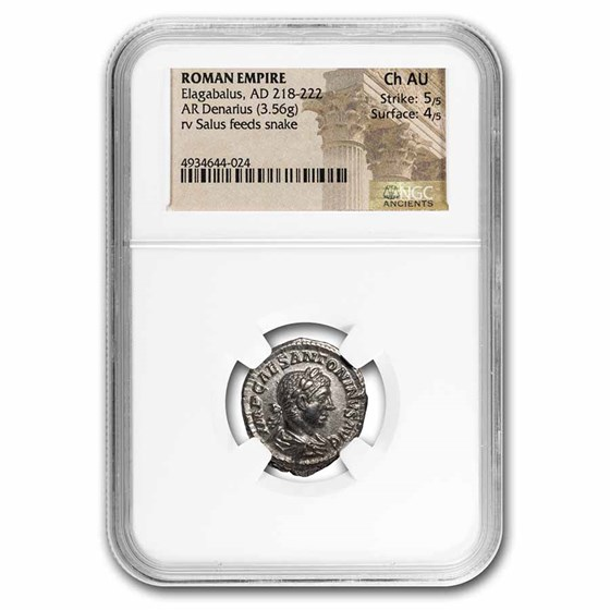Roman Empire AR Denarius Elagabalus Ch AU NGC (RIC IV 140)