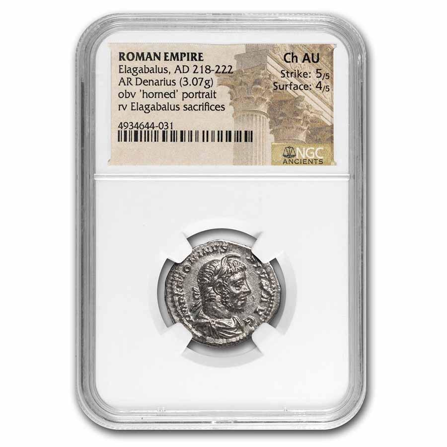 Roman Empire AR Denarius Elagabalus Ch AU NGC (RIC IV 146)