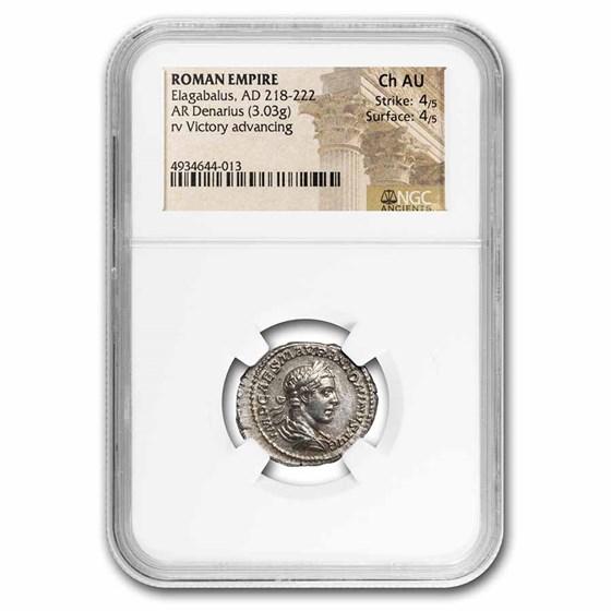 Roman Empire AR Denarius Elagabalus Ch AU NGC (RIC IV 153)