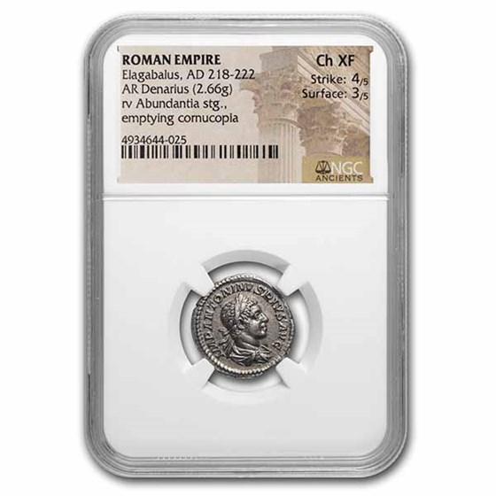 Roman Empire AR Denarius Elagabalus Ch XF NGC (RIC IV 56)