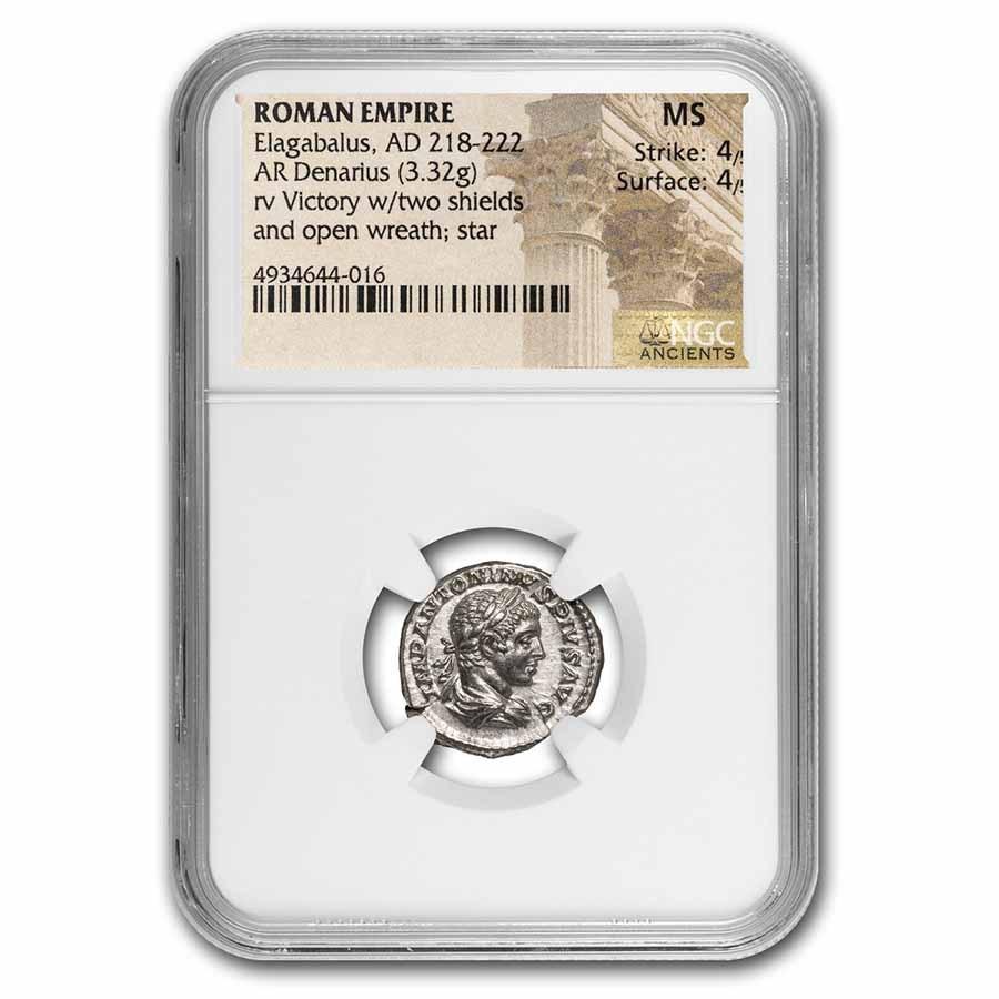 Roman Empire AR Denarius Elagabalus MS NGC (RIC IV 161)