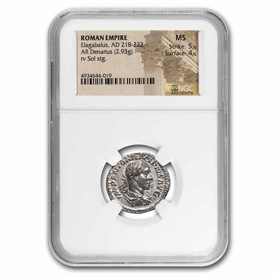 Roman Empire AR Denarius Elagabalus MS NGC (RIC IV 17)
