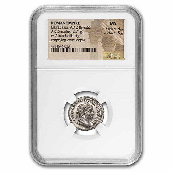 Roman Empire AR Denarius Elagabalus MS NGC (RIC IV 56)