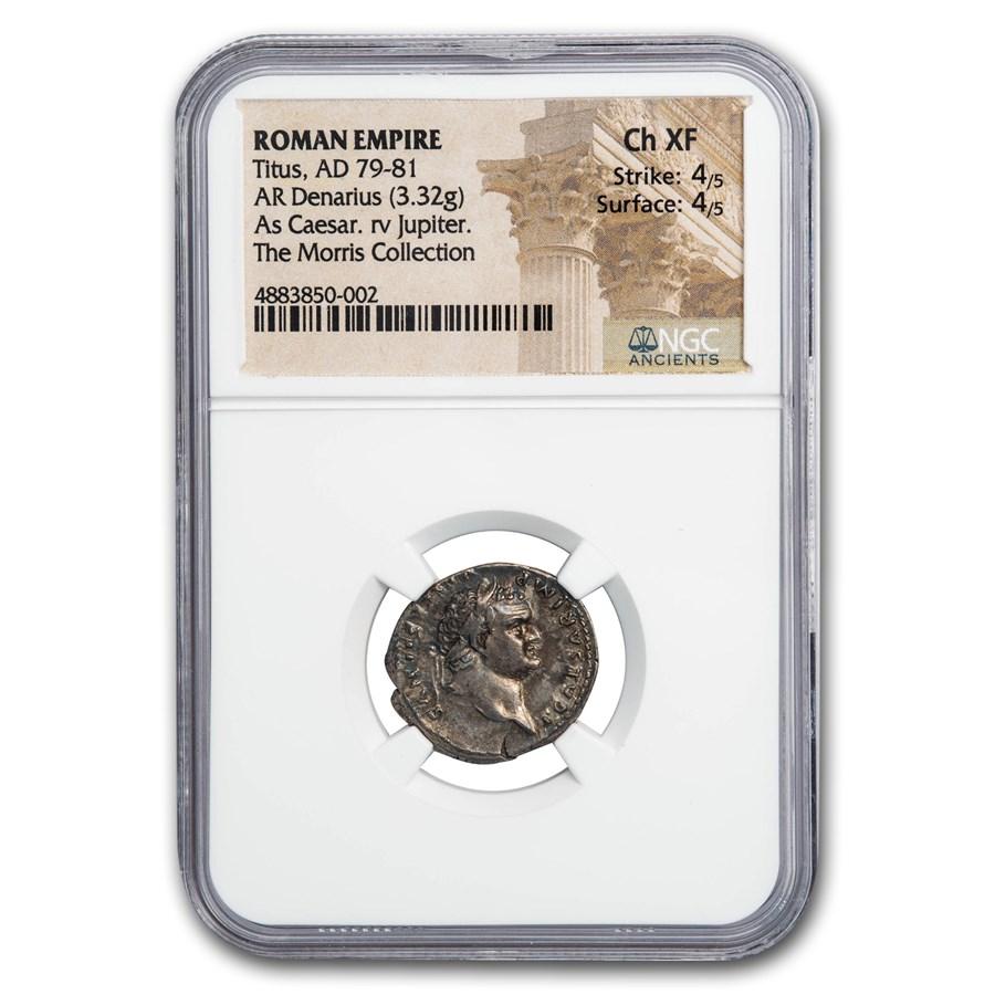 Roman Empire AR Denarius Emp Titus (79-81 AD) Ch XF NGC (RIC 874)