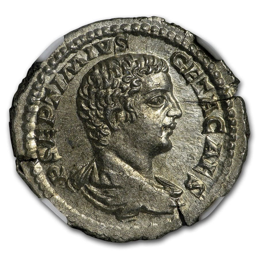Roman Empire AR Denarius Emperor Geta (209-211 AD) MS NGC