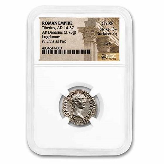 Roman Empire AR Denarius Tiberius (14-37 AD) Ch XF NGC (RIC I 30)