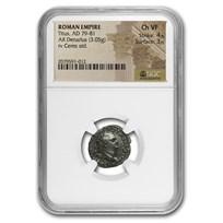 Roman Empire AR Denarius Titus (79-81 AD) Ch VF NGC (RIC II 22)