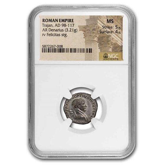 Roman Empire AR Denarius Trajan (98-117 AD) MS NGC (RIC II 343)