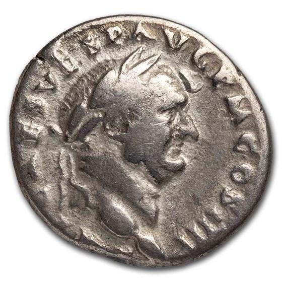 Roman Empire AR Denarius Vespasian (69-79 AD) VF (RIC 362)