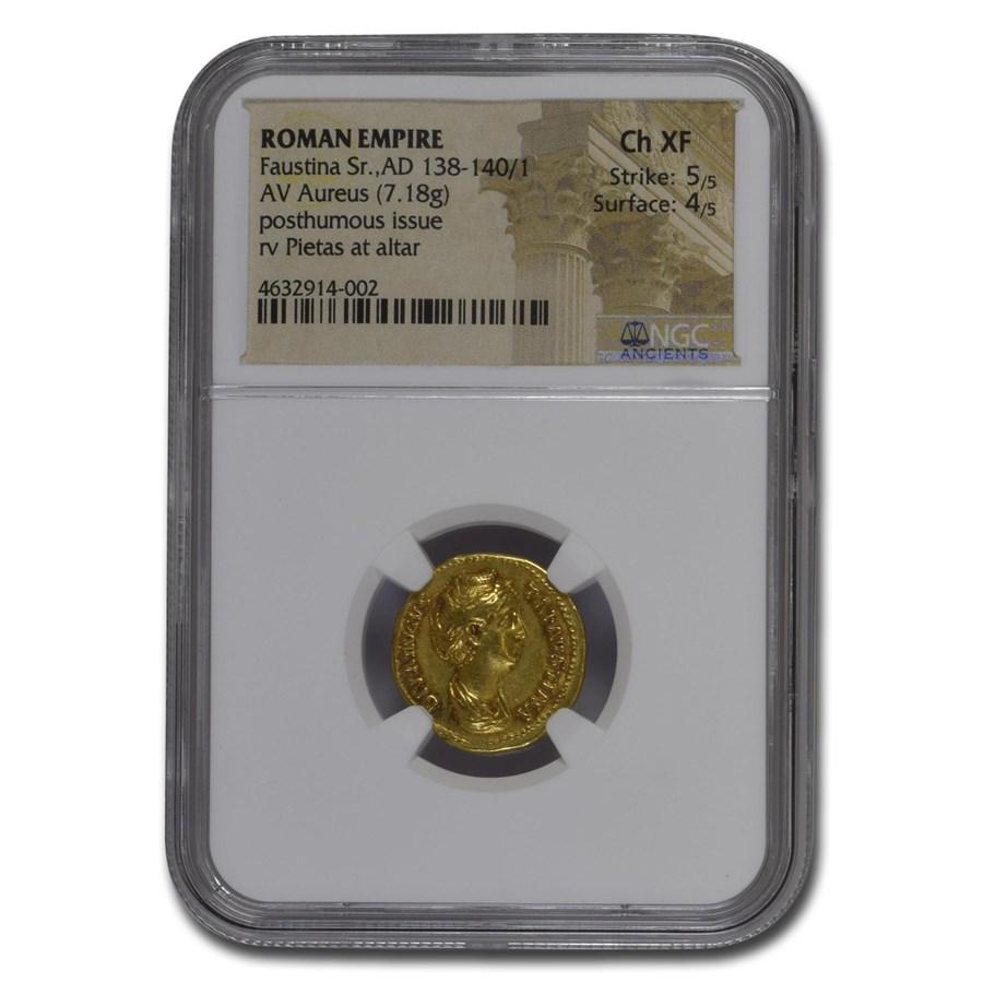 Roman Empire Av Aureus Faustina the Elder (138-141 AD) CH XF NGC