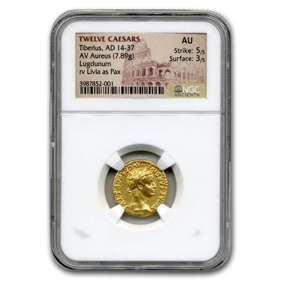 Roman Empire AV Aureus Tiberius (14-37 AD) AU NGC (Tribute Penny)
