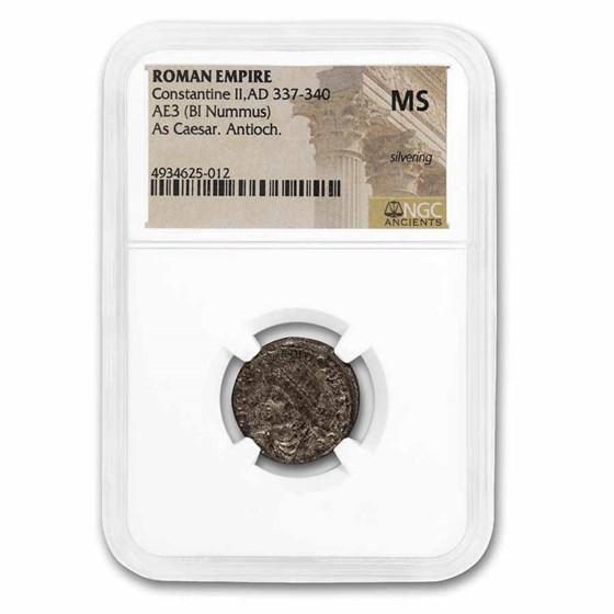 Roman Empire BI Nummus Constantine II 337-340 MS NGC (RIC VII 73)